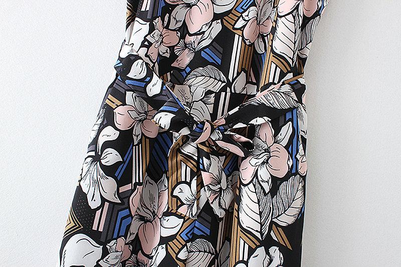 Bella Philosophy 2017 spring summer jumpsuit Women floral print bow waist jumpsuit sleeveless wide leg jumpsuit 16