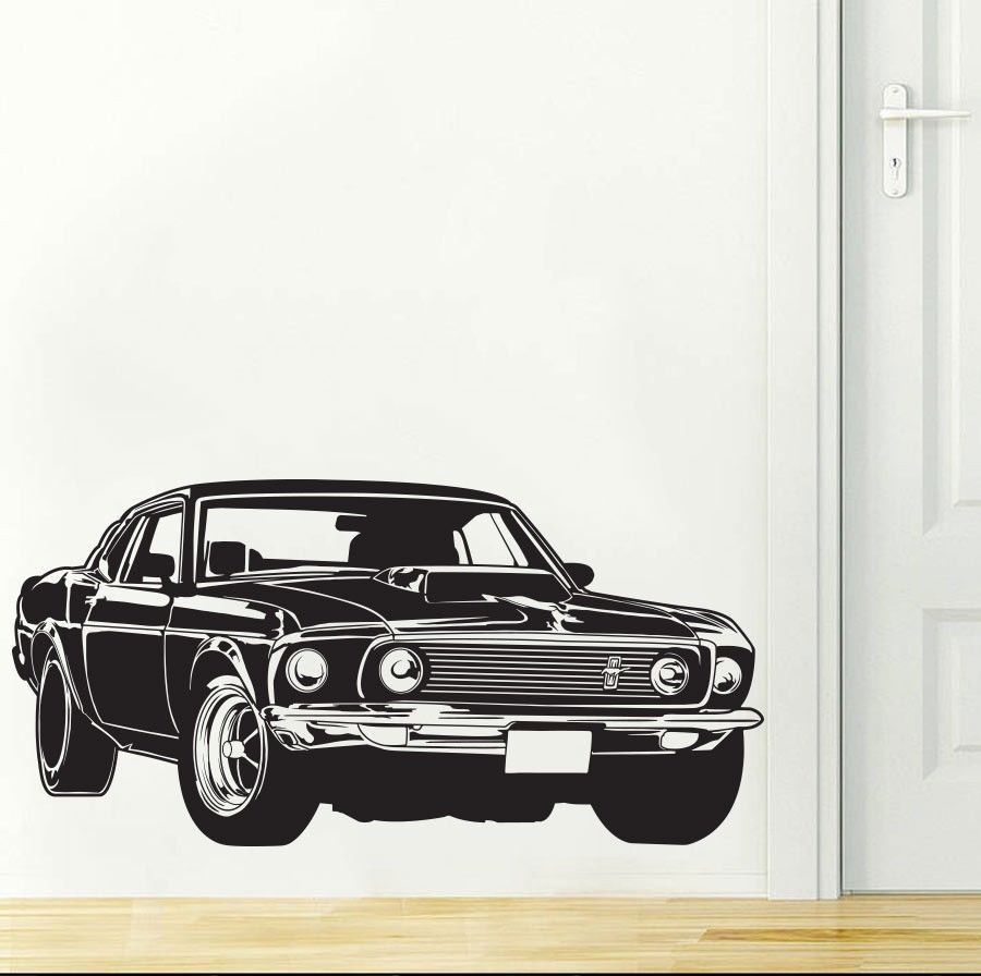 Stylish Shelby Gt Ford Mustang Muscle Racing Car Wall Mural Vinyl