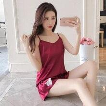 Womens Pajamas Suit sleeveless Sashes Bathrobe Patchwork Sexy pajamas Women summer 2 Pieces Nightie Woman Pink