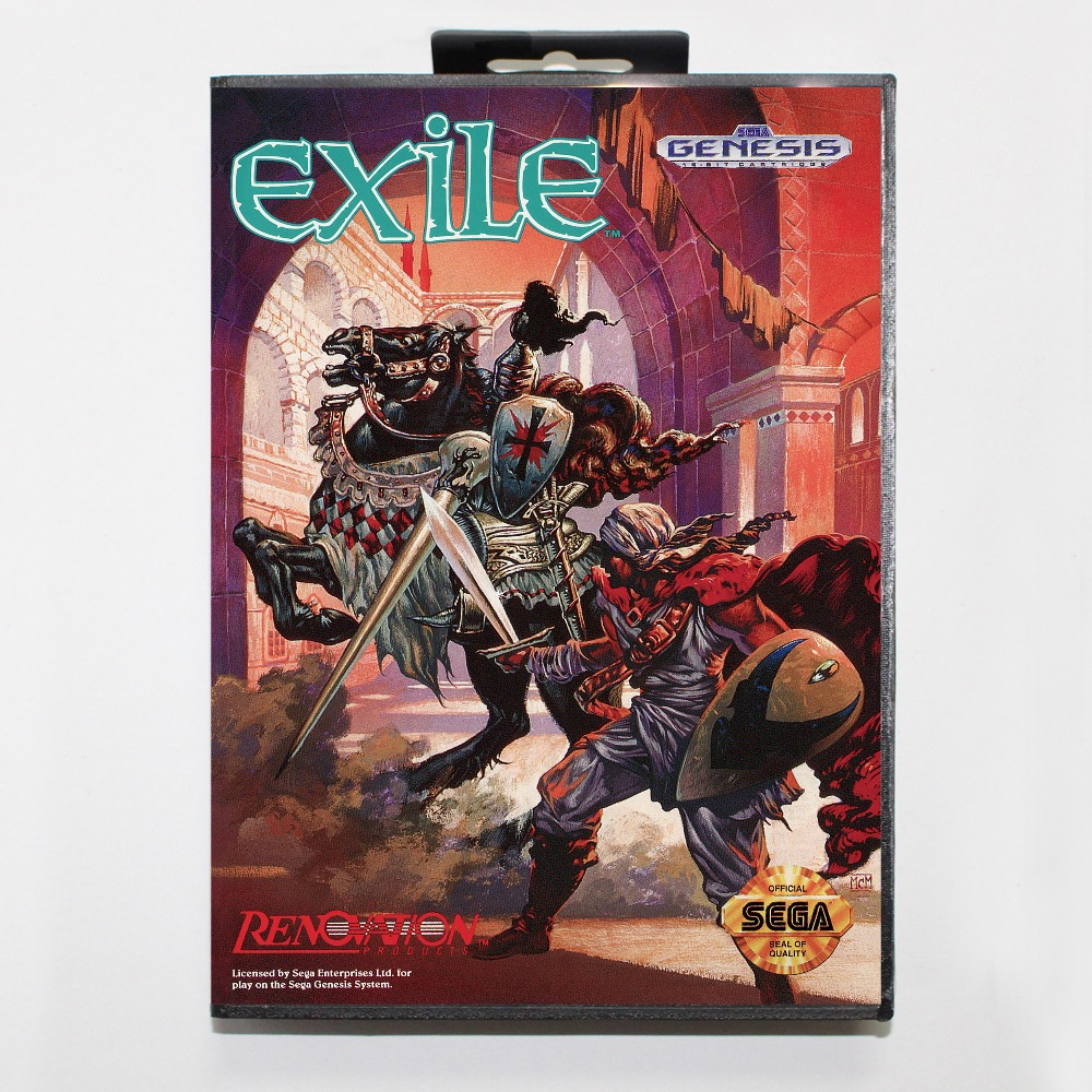 New 16 bit MD game card - exile with Retail box For Sega genesis system