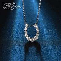 L Zuan New U Shape 0 51ct Diamond Pendants For Women 18k Platinum Necklaces Valentine Gift