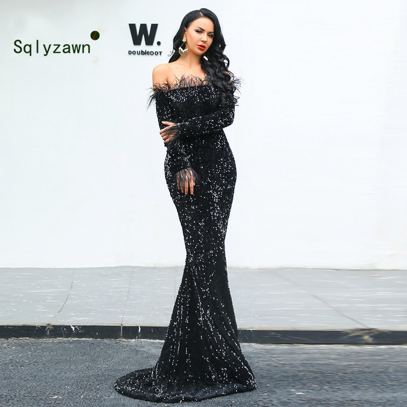 Women Sexy Off Shoulder Feather Long Sleeve Sequin Floor Length Evening Party Maxi Reflective Sparkling Mariage