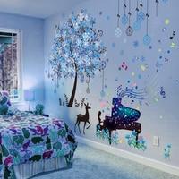[SHIJUEHEZI] Олень Дерево настенные наклейки DIY девушка пианино настенные наклейки детские комнаты спальня, детская комната школьные украшения