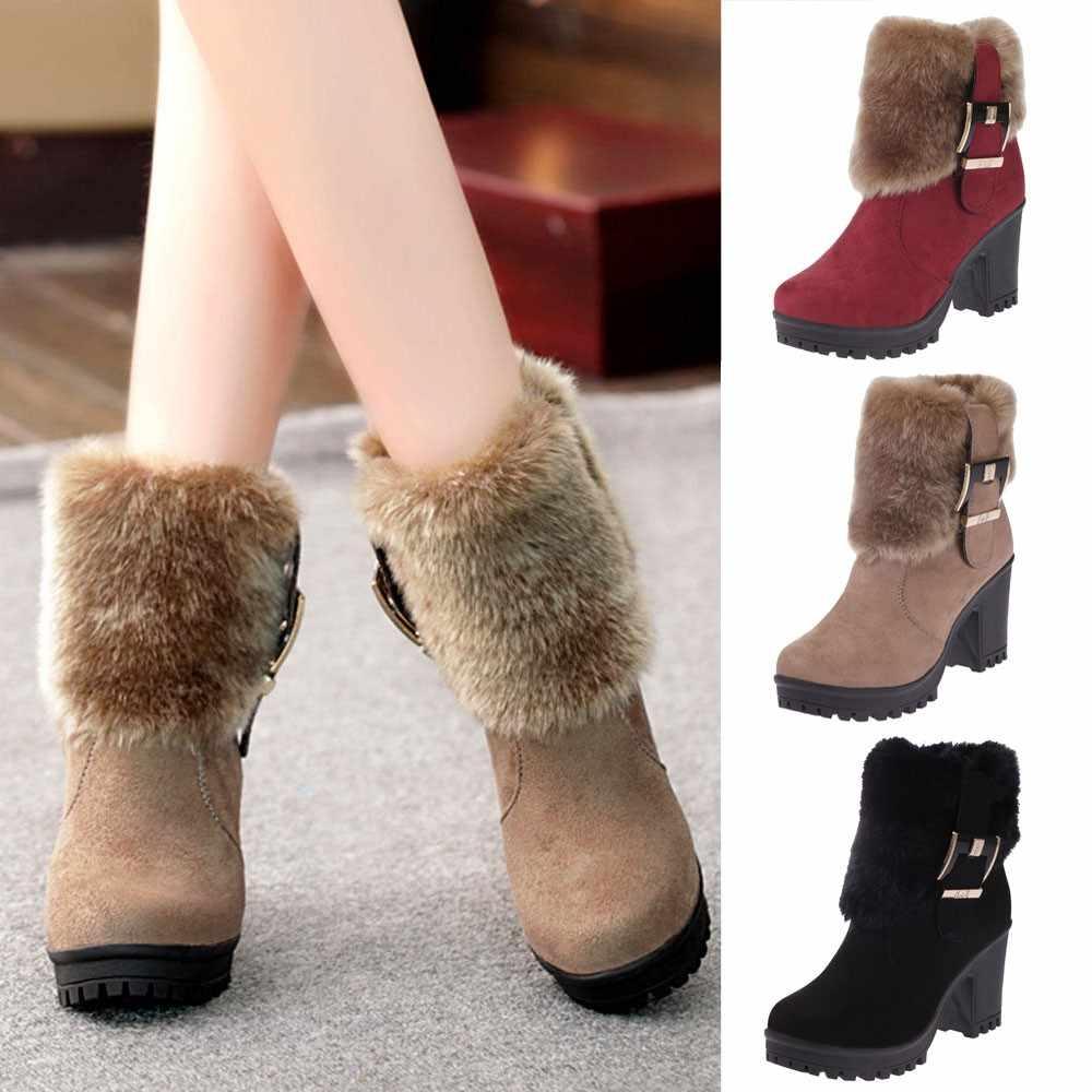 YOUYEDIAN Moda kadın Peluş Martin Çizmeler Kısa Tüp Kalın Toka Ile Sıcak Çizme schoenen vrouw met hakjes # L3