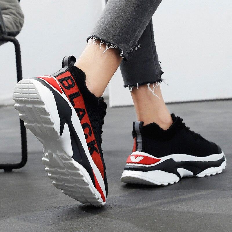 Loisirs forme En Femme Gris rouge Chaussures Épaisses Fond De Sneakers Plate Rue Course 2018 Hiver 7qpHxXwC4q