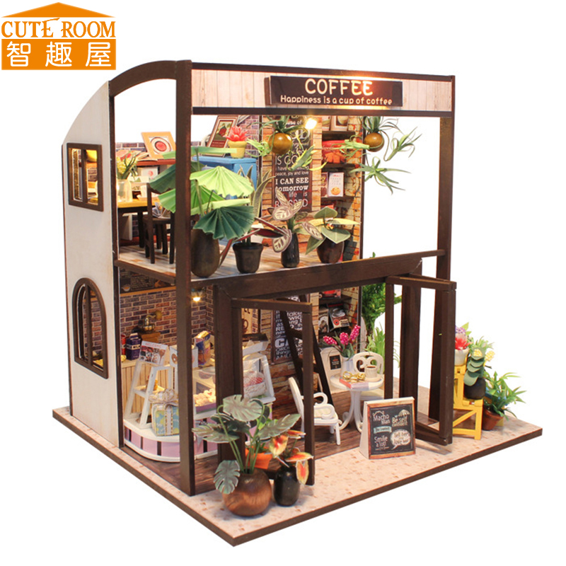Assemble DIY Doll House Toy Wooden Miniatura Doll Houses Miniature Dollhouse toys With Furniture LED Lights Birthday Gift M27