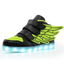 2017 New usb charging glowing sneakers Kids Running led angel's wings kids with lights up luminous shoes girls' boys' shoes