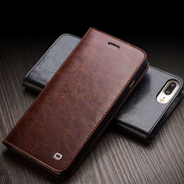 QIALINO 2016 Case for iPhone 7 Genuine Leather Flip Wallet Ultra Thin Cover for iPhone 7 plus fashion pure handmade case 4.7/5.5
