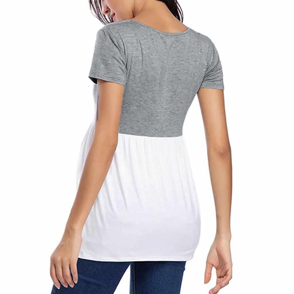 Femmes hauts de maternité à manches courtes Comfy décontracté Spliting couleur T-shirt vêtements femmes chemises de grossesse Ropa Embarazada
