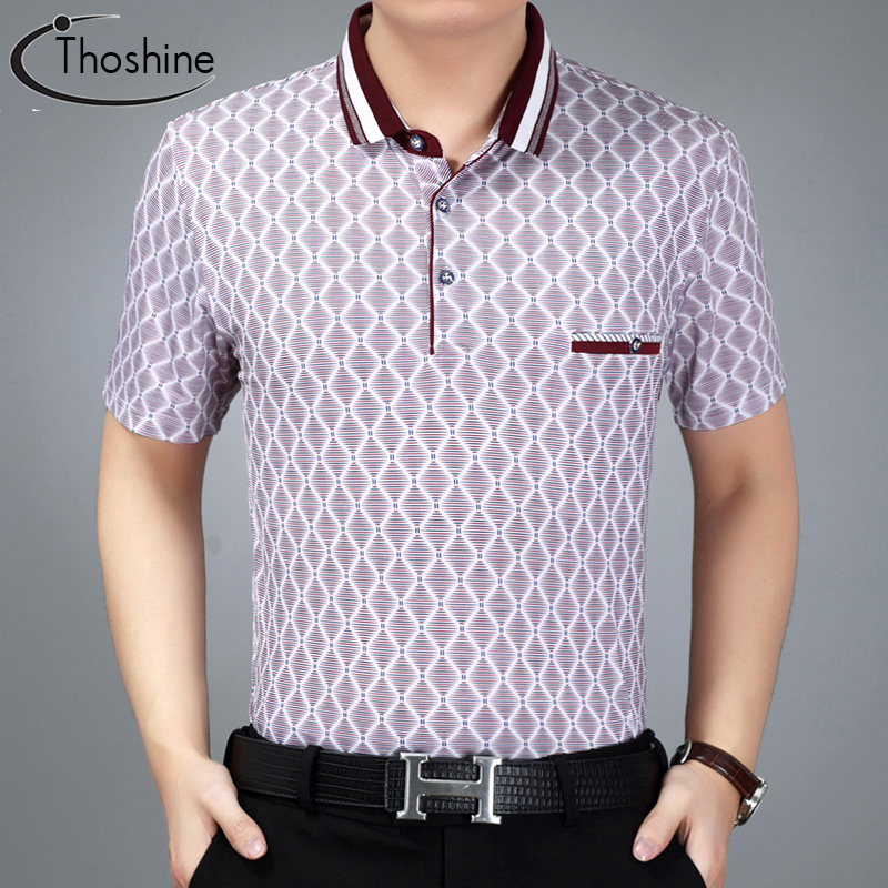 Thoshine Brand Summer Style Men Argyle Pattern   Polo   Shirt 97% viscose Male Classic   Polo   Shirts Turn Down Collar Tops Plus Size
