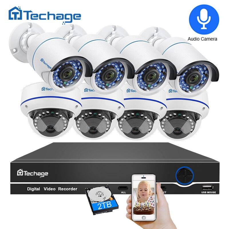 Techage 8CH 1080 P POE NVR аудио запись видеонаблюдения Системы 2MP Крытый Открытый купольная PoE IP Камера ИК P2P комплект видеонаблюдения
