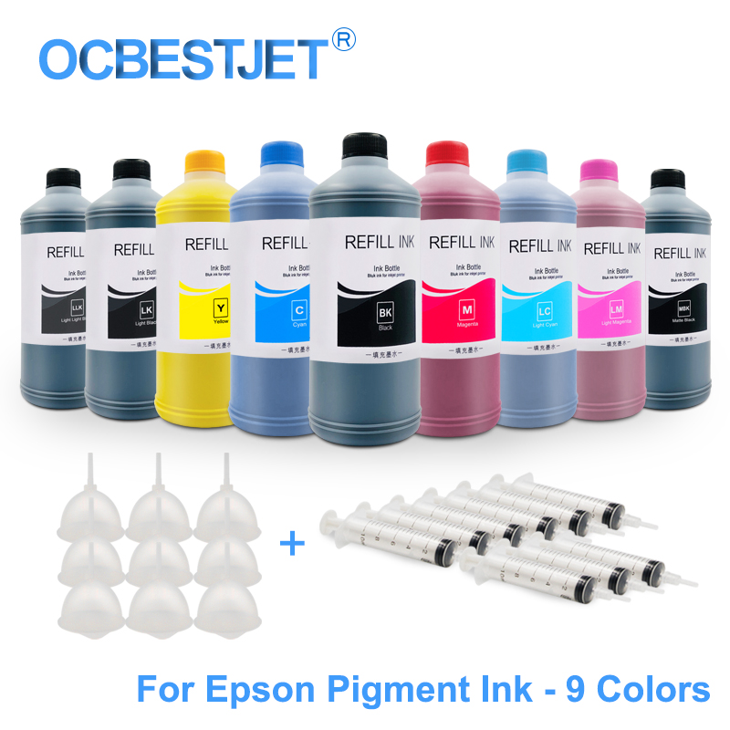 9x500ML Universal Pigment Ink Refill Ink Kit For Epson SureColor P600 P800 P6000 P7000 Stylus Pro 7890 9890 3800 3880 11880