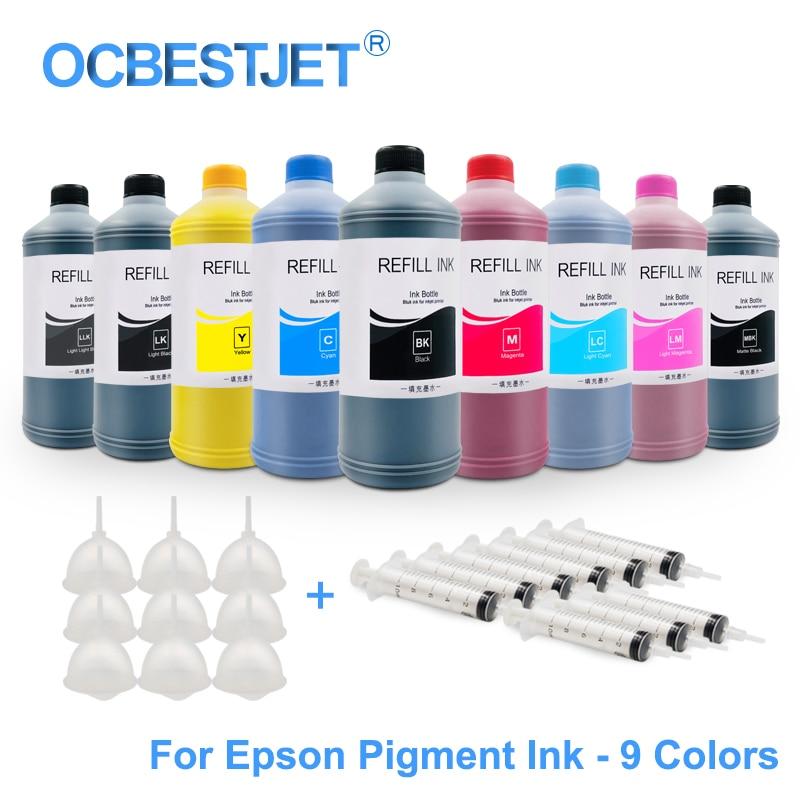Kit de recharge dencre pigmentée universelle 9x500ML pour Epson SureColor P600 P800 P6000 P7000 stylet Pro 7890 9890 3800 3880 11880