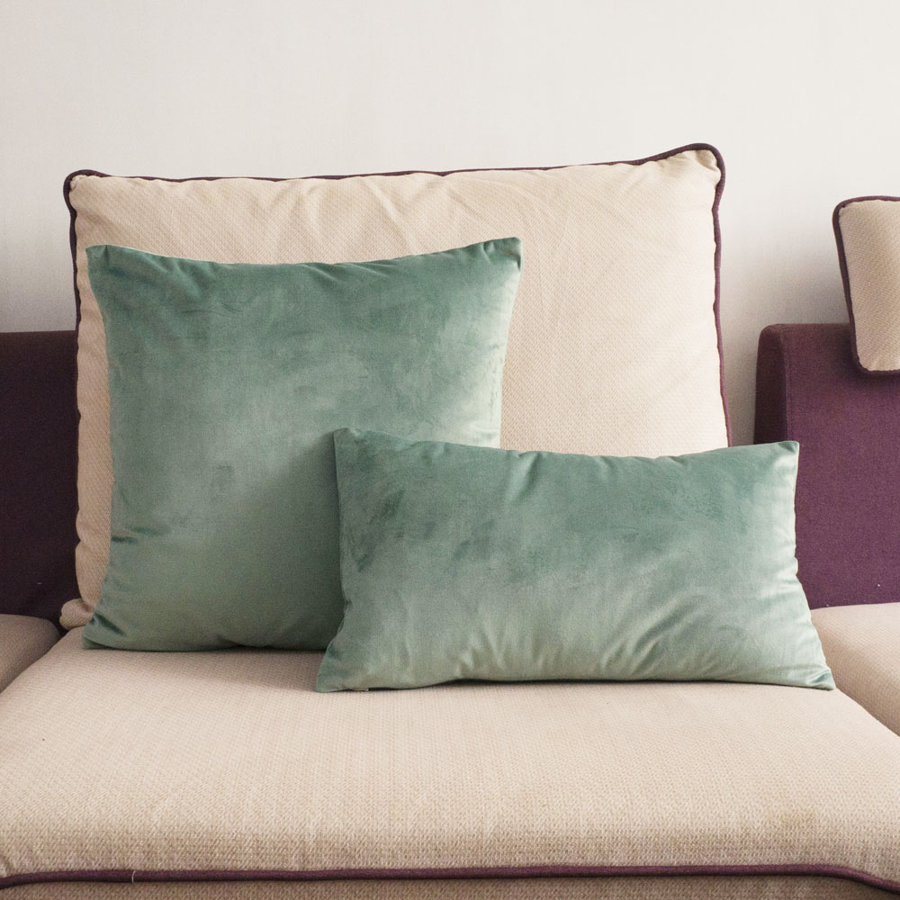 Green Velvet Cushion Cover Aqua