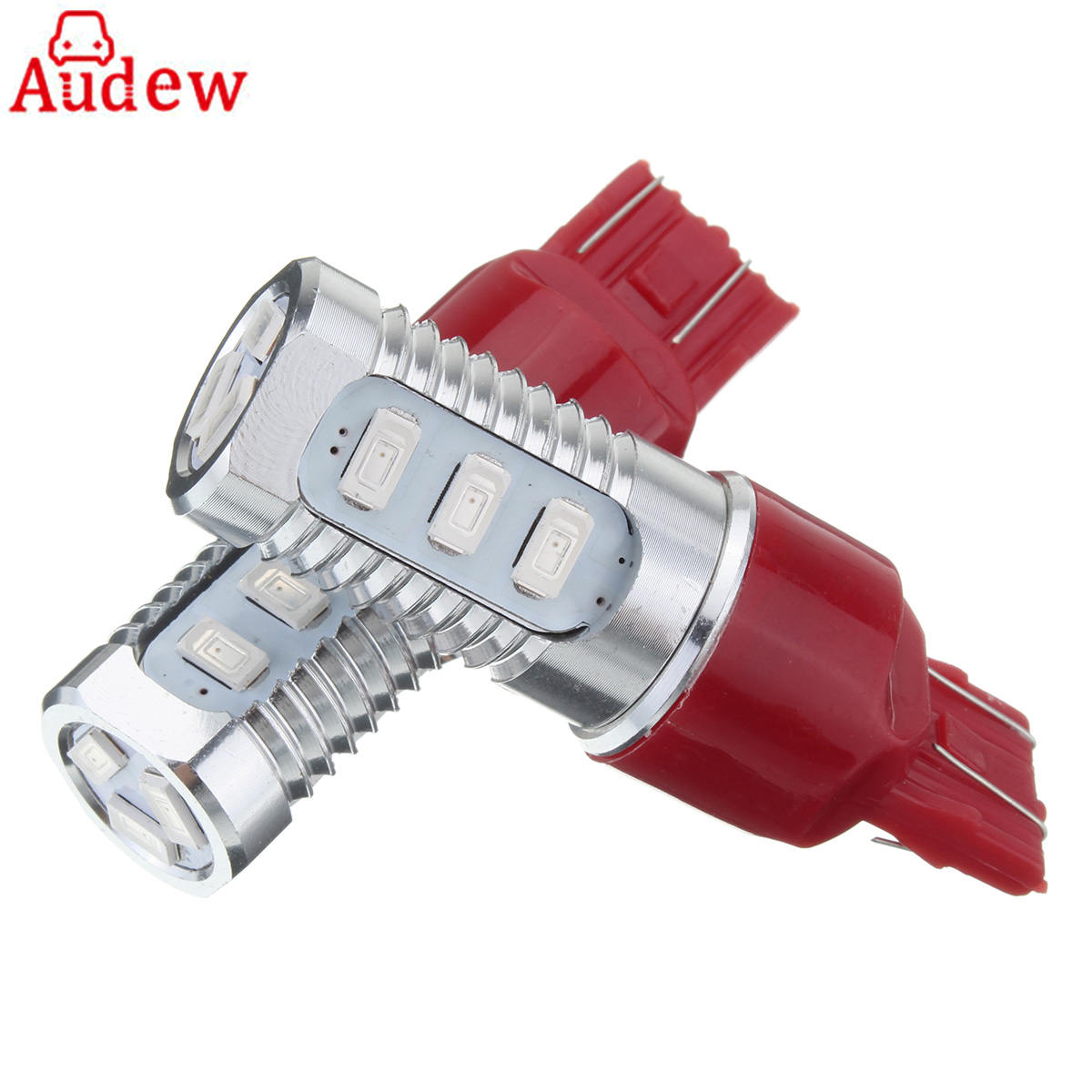 2Piece 7443 T20 LED Flashing Strobe Blinking Car Red Rear Alert Safety Brake Tail Stop Lights Reverse Lamp Bulb