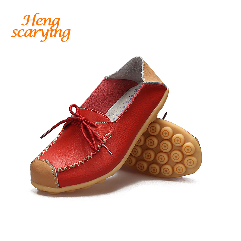 HENSCARYING Brand 2018 New Casual Moccasins Women Soft Handmade Leather Flat Ballet Flats Plus Size 11 Lace up Nurse Boat Shoes new women casual boat ballet shoes women round toe flats oxfords breathable lace up walking shoes zapatos plus size 35 40 w237