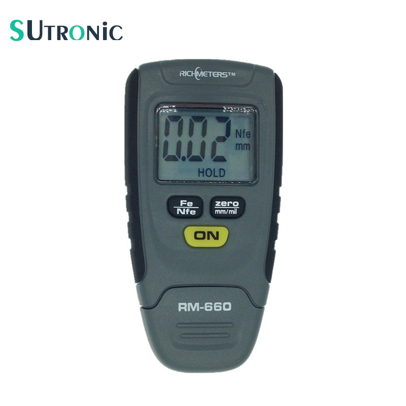 RM660 Digital Rivestimento Calibro di Spessore 0-1.25mm Vernice di Rivestimento Misuratore di Spessore di Auto del Tester del tester di Ferro Base In Alluminio del Metallo