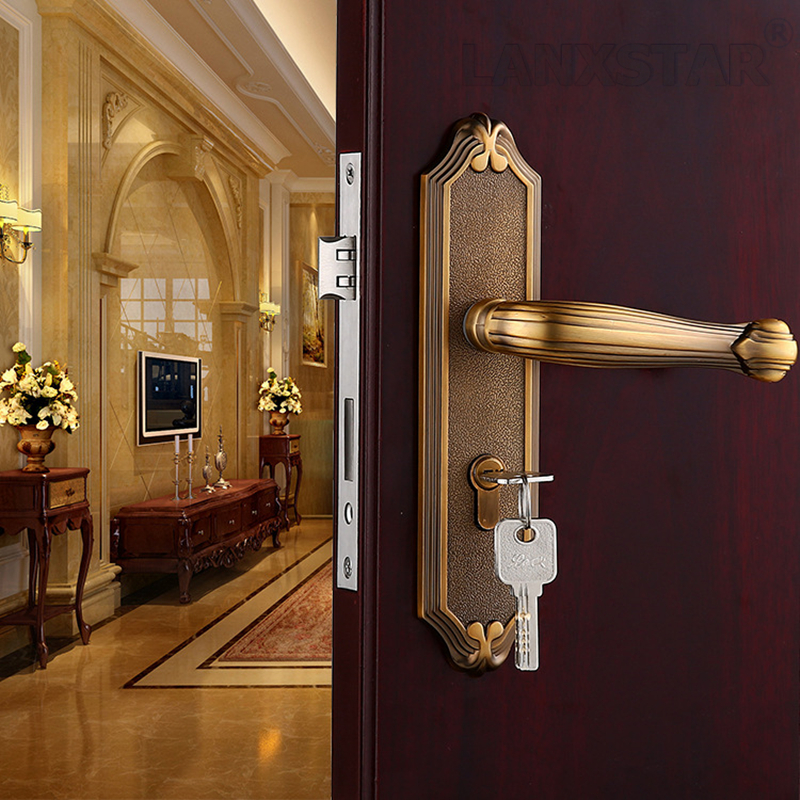 ФОТО European Style Wooden Door Selling Recommended Zinc Alloy Handle Lock Exquisite Appearance and Quality Assurance Mute Locks