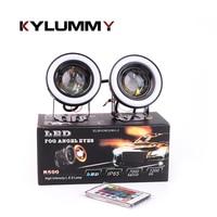 New LED RGB Fog Lights Angel Eyes Colorful Bulb R500 76 89 Mm DC12V DRL With
