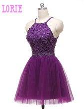 Echt Bild Kurz Prom Kleider 2016 Neue Ankunft Halter Perlen Kleider Robe De Cocktail Elegantes Mädchen Formal Abschlussfeier Mini
