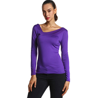 Women Elegant Shirts Purple V Neck Long Sleeve T Shrit Slim Black Shirt Spring Autumn Clothes