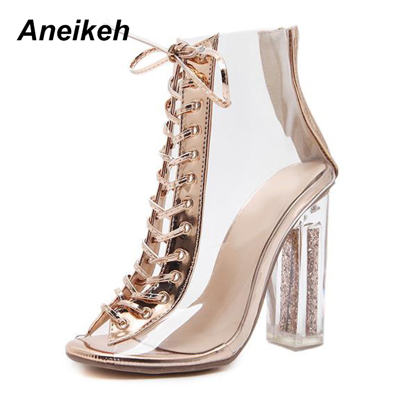 70090c0ec33b Aneikeh 2018 New Sexy PVC Transparent Gladiator Sandals Peep Toe Shoes  Bling Clear Chunky heels Sandals Boots Size 35-40