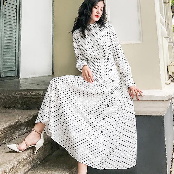 2018 Women half turtleneck vintage Polka Dots slim waist Dress high waist long Sleeves Long a-line dess