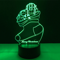 Christmas Decor Socks 3D LED Night Light 7 Color Dimming Illusion Bedroom Lamp Holiday Light Child