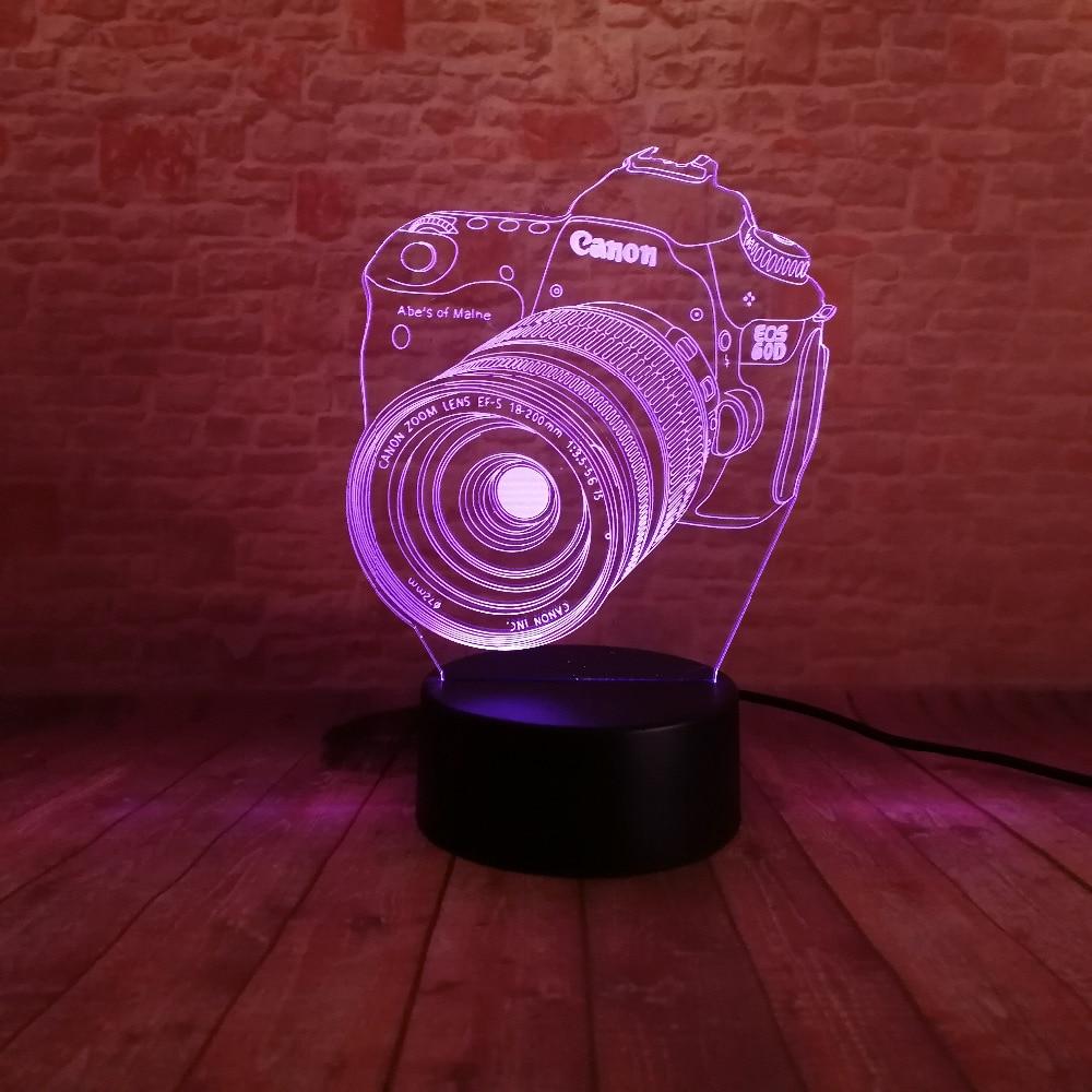Nouveau 3D Caméra Tactile Télécommande LED 7 Changement De Couleur - Veilleuses - Photo 5