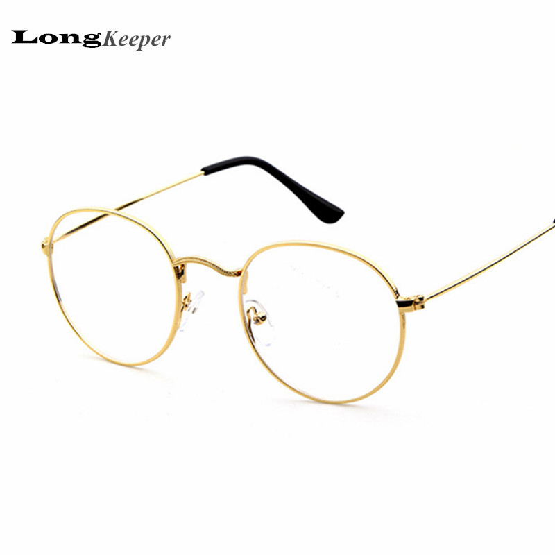 2016 new designer woman glasses optical frames metal round glasses frame clear lens eyeware black silver gold eye glass p010