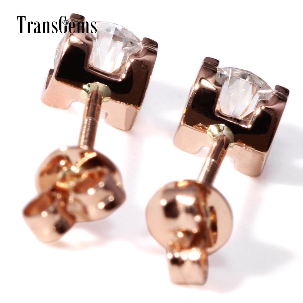Transgems Solid 14K 585 Rose Gold 2CTW 6.5MM F Color Moissanite Stud Earrings Screw Back for Women Wedding Jewelry Pink Gold