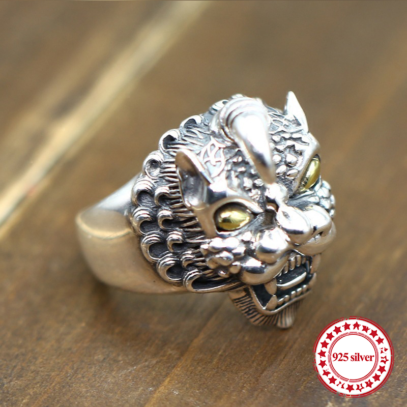S925 sterling silver mens open ring personalized classic retro fashion series carved unicorn modeling lovers giftS925 sterling silver mens open ring personalized classic retro fashion series carved unicorn modeling lovers gift
