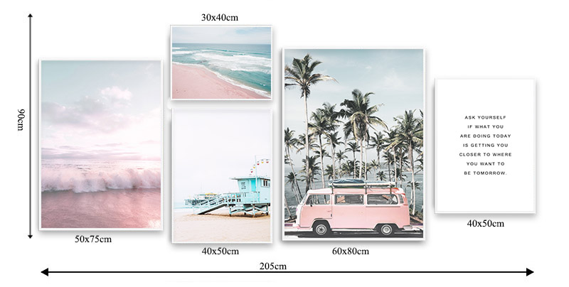 HTB1vYAbaOfrK1RjSspbq6A4pFXas Ocean Landscape Canvas Poster Nordic Style Beach Pink Bus Wall Art Print Painting Decoration Picture Scandinavian Home Decor