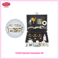 Portable Green Grafting Eyelash Extension Kit Makeup Set with Silver Box Case Salon Tools