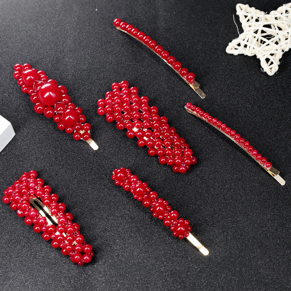 1Pc/Set Pearl Metal Red Hair Clip Hairband Comb Barrette Hairpin Headdress Accessories Beauty Styling Tools New Arrival