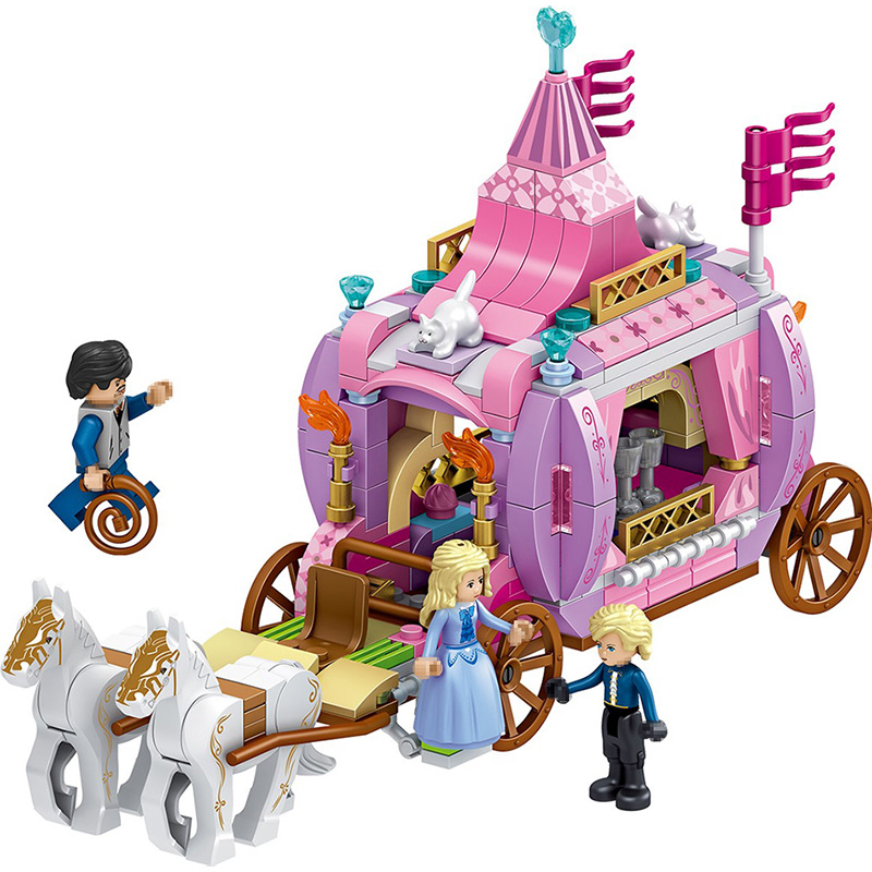 New Cinderella Princess Royal Carriage Building Blocks Princess Figures Legoinglys Friends Blocks Bricks Model Toys Girls Gift