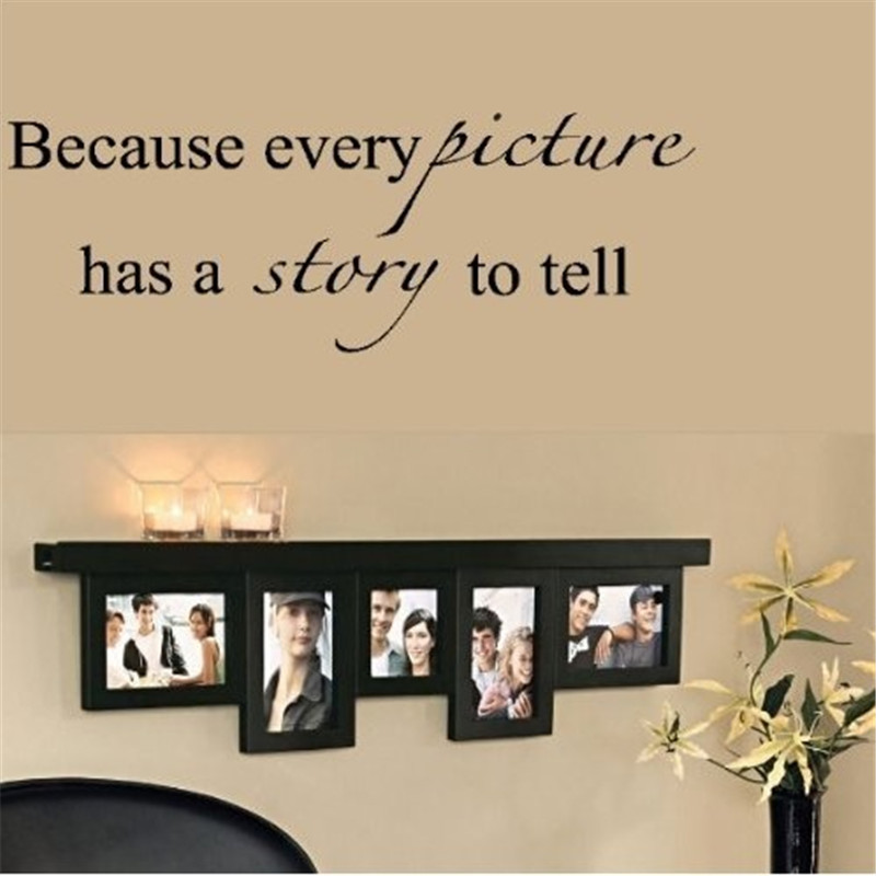 lovely warm quote wall stickers every picture has a story to tell decorative adesivo de parede 8093 removable vinyl wall sticker