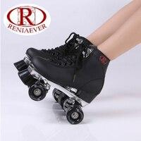 Double row roller skates black polyurethane wheels metal base triangular frame high boot