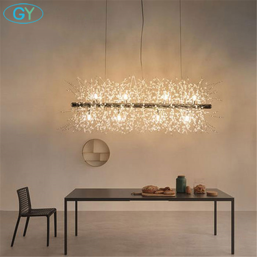 Modern art decoration LED pendant lights L92cm long Chrome crystal LED G9 dining room pendant lamp loft lustre luminaire lampen egypt imported crystal 8 light pendant lights in ball shape chrome pl1040