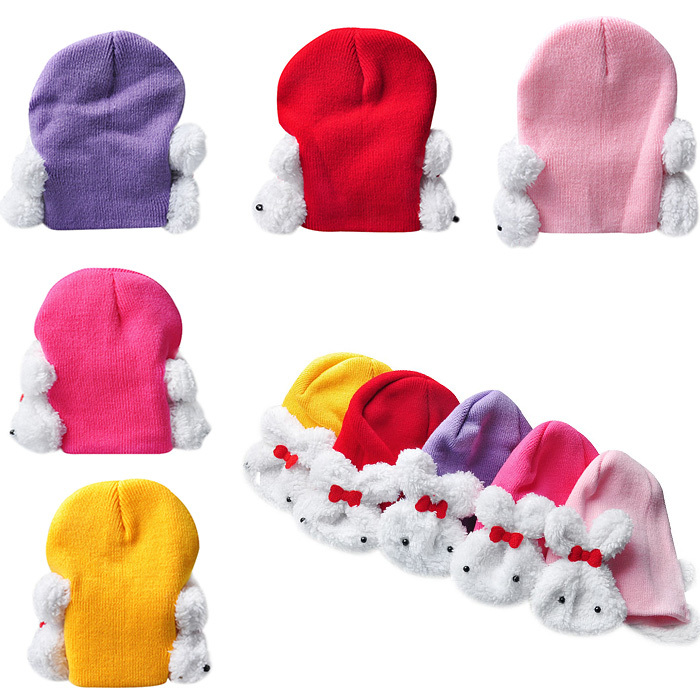 Autumn Winter Toddler Infant Knitted Baby Hat Adorable White Rabbit Ear Hat Baby Bunny Beanie Cap Photo Props Color Randomly