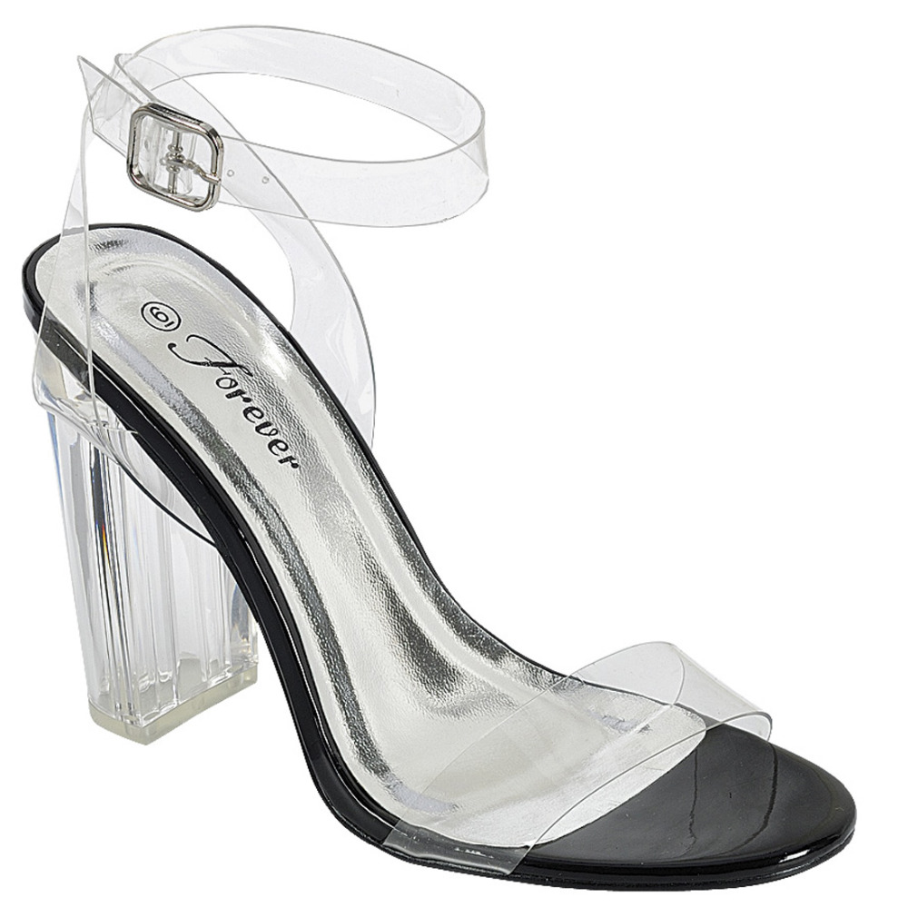 Shoes zone sandals - If50 Women S Shoes Transparent Ankle Strap Lucite Heel Dress Sandals China Mainland