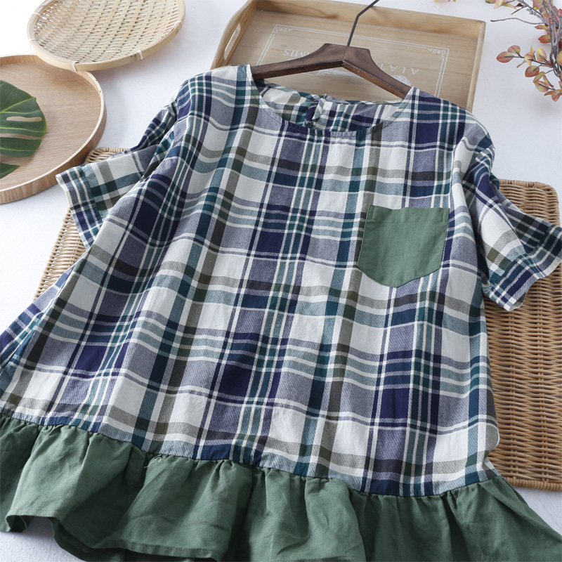 Vintage green plaid summer short sleeve wide hem doll shirt women