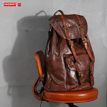 Vegetable Tanned Cowhide Leather Mens Backpack Male Retro Large Capacity Bag Men Bucket Travel Backpacks New Original 2020