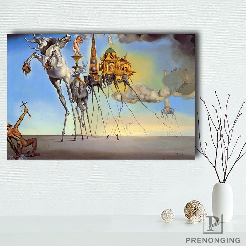 Canvas Poster Silk Fabric P0415 EMPTATION OF ST ANTHONY SALVADOR DALI Poster#190114-H-26