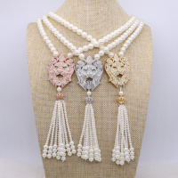 4 Pcs Simulated Pearl Necklace Mix Colors Lion Head Tassel Pendant Necklace Handcrafted Baroque Jewelry For