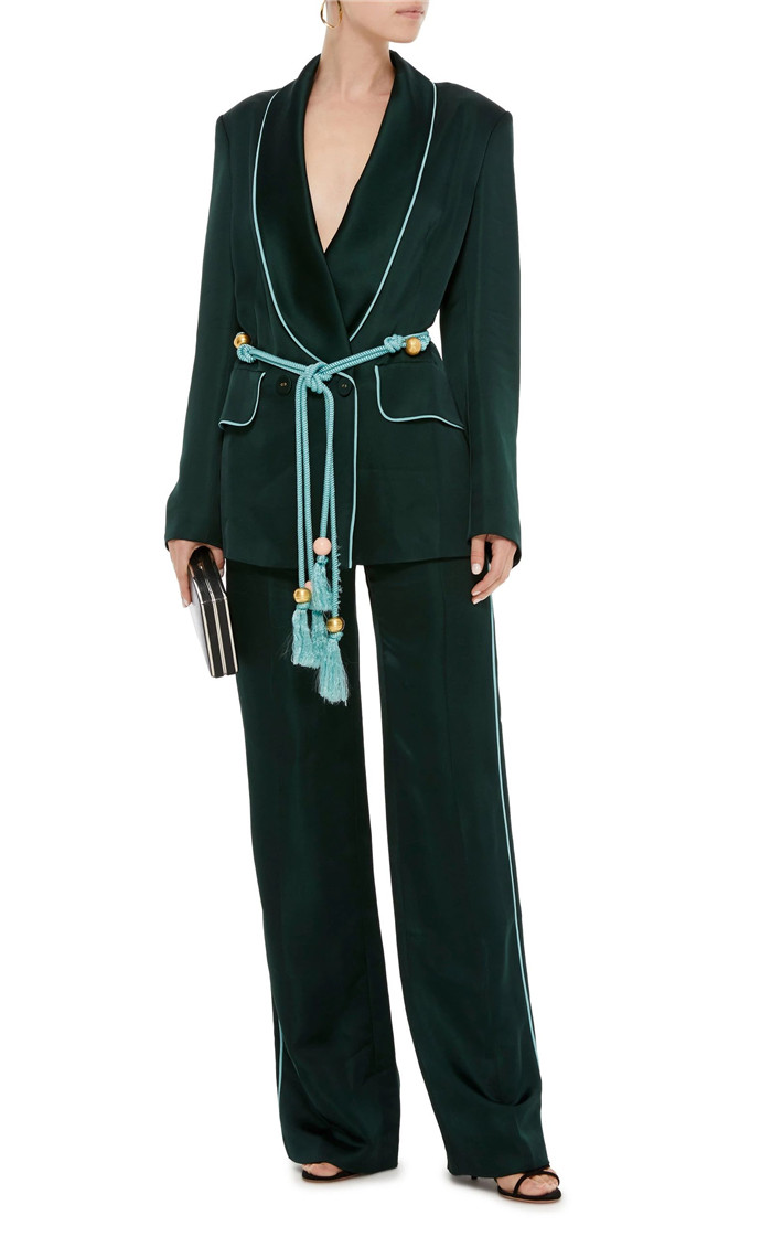 AEL Women's Suits mercerization Blazer Lace Up Coats High Waist Wide Leg Pants Two Piece Sets 2018 Autumn Fashion Style-in Pant Suits from Women's Clothing    3