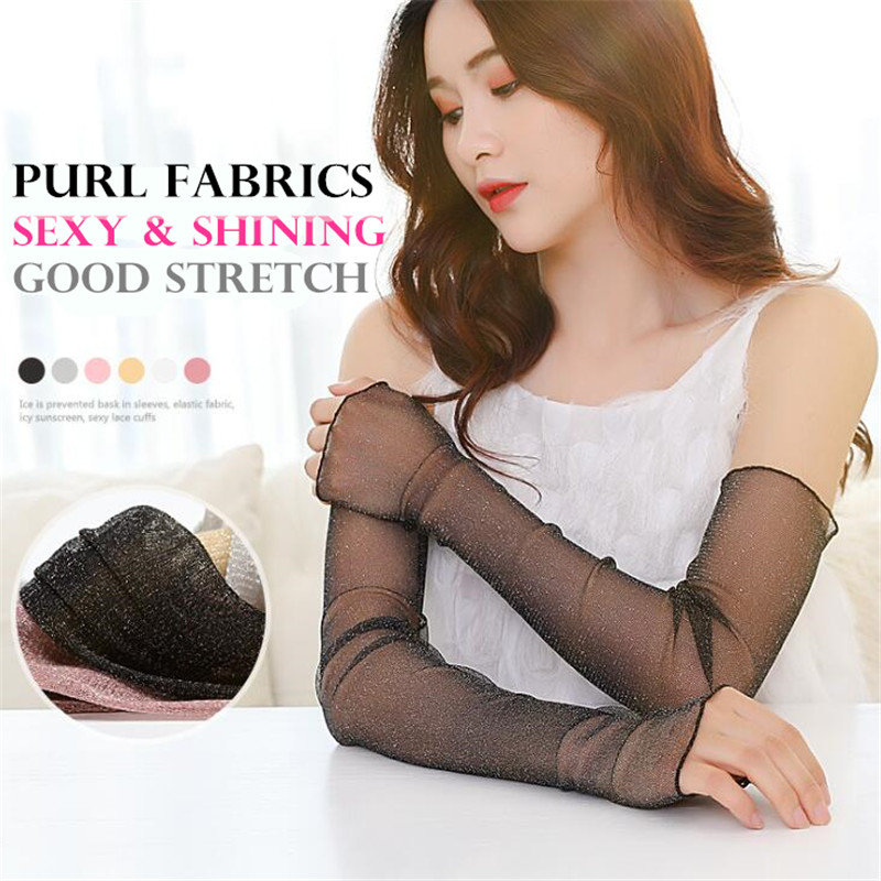 30p Sexy Ultra-thin Shiny Purl Mesh Yarn Arm Sleeves,Outdoor&Driving Anti-UV Sunscreen Hand Protect Women Fingerless Long Gloves