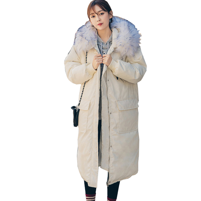 Winter loose large size cotton jacket Women 2018 New fur collar hooded Long thick warm   Parka   Padded Coat Jaqueta Feminina NW601