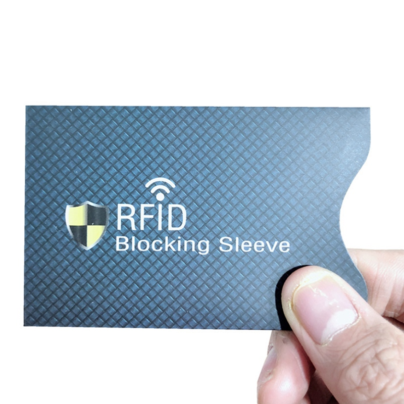 5Pcs Blue Aluminum Foil Portable Anti-Scan Credit RFID Card Protective Anti-Magnetic Holder Bag ID Band Card Protector