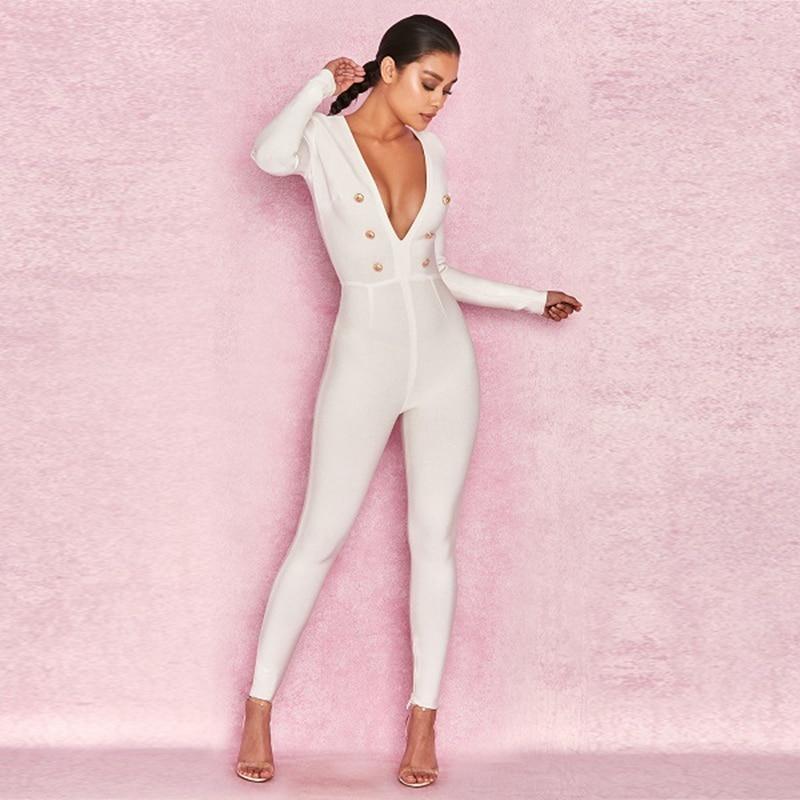 Long Bouton Bandage Sexy Moulante Partie Gros Sleevesolid Mode Célébrité V Clubwear 2019 Profonde De Cou Nouvelle Blanc Combinaison Oq0wxz